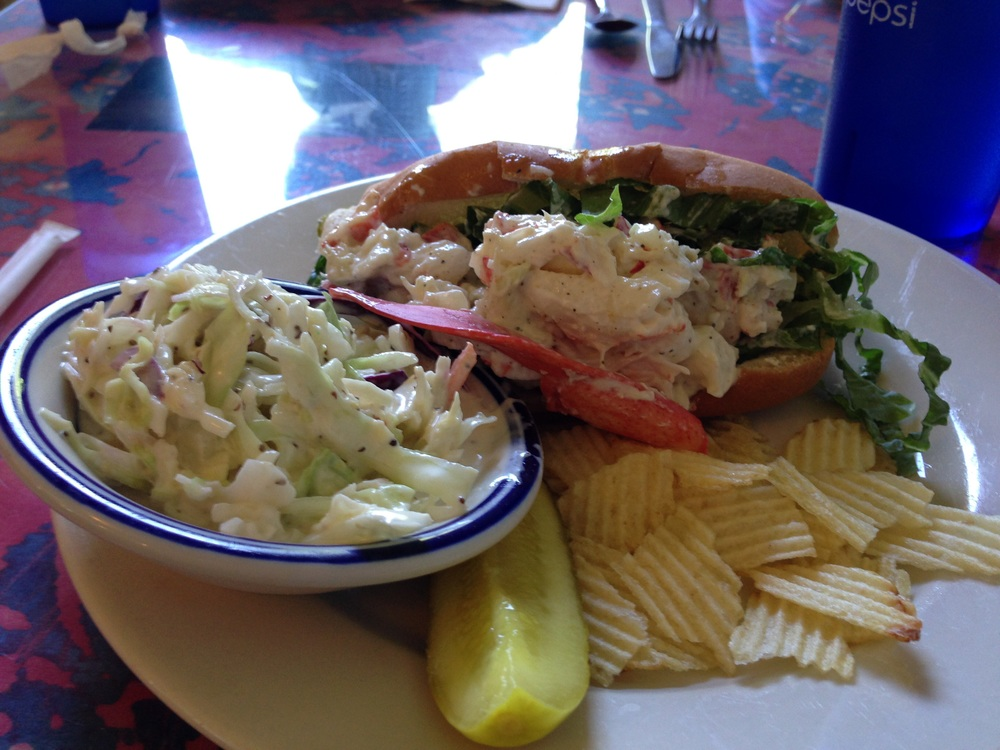 Not only are the prices reasonable, but the food was fresh and homemade at Chesters Pike. Here a lobster roll is done the Maine way, just right, a toasty hot dog roll loaded with fresh lobster with just a hint of mayo, and creamy homemade coleslaw and chips on the side.