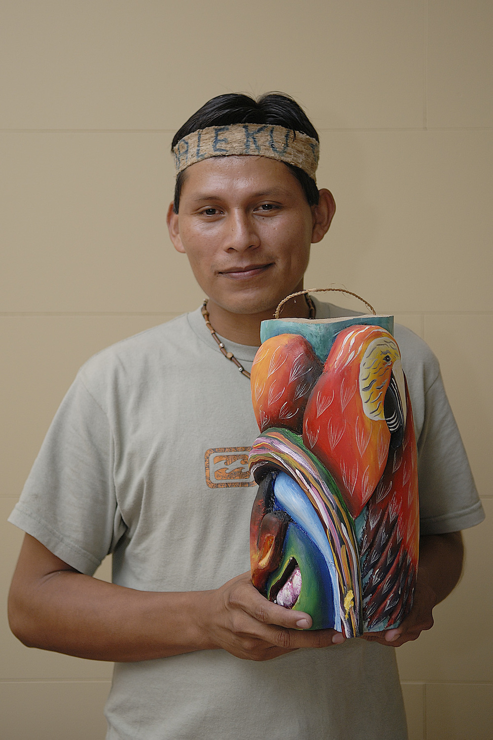 A native Costa Rican with his painted art work.