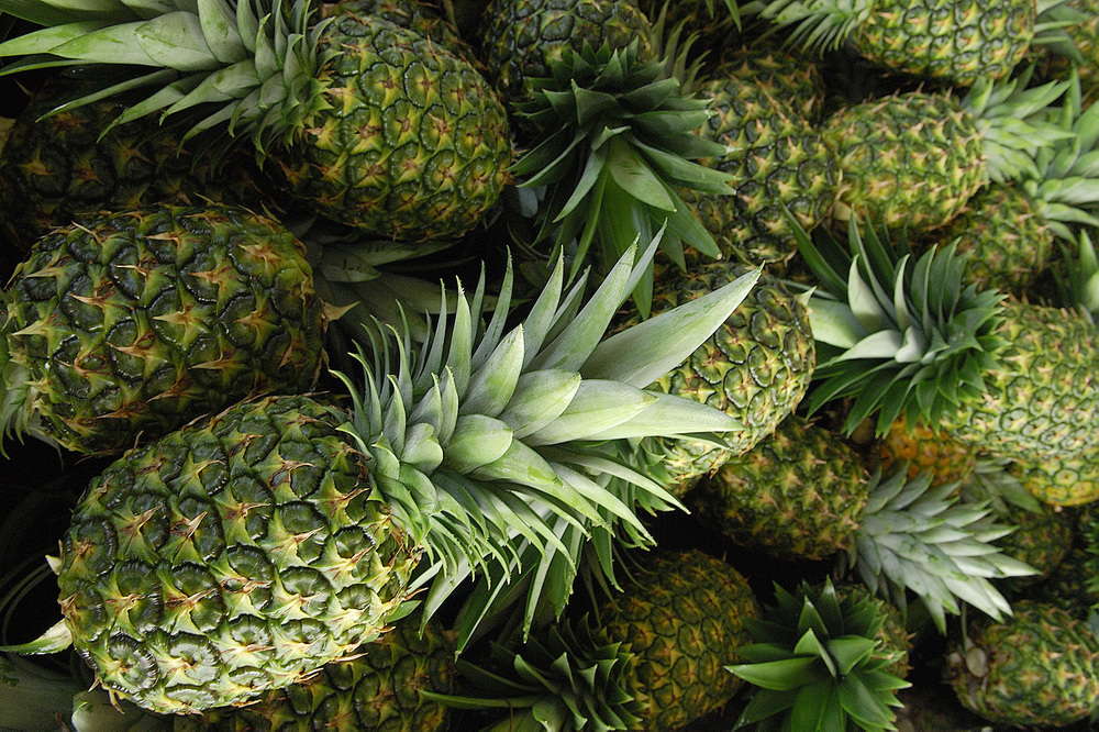 A detail of pineapples