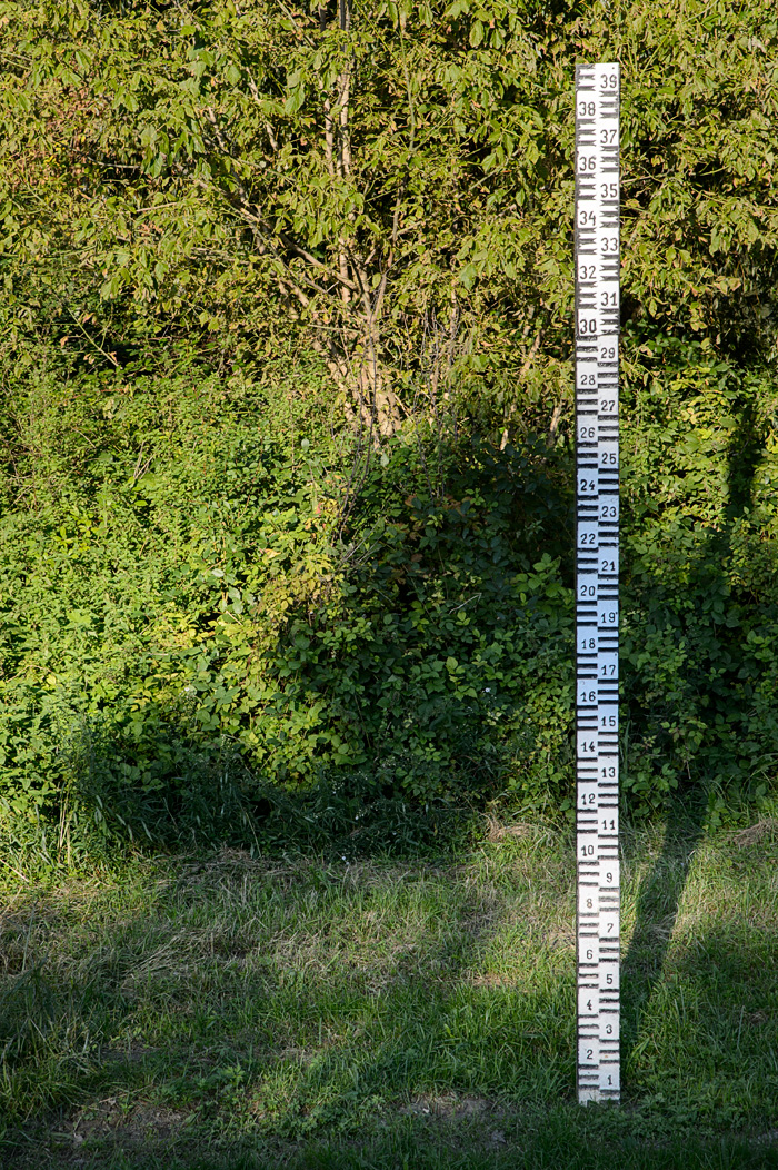 A measuring stick in Mohacs along the Danube River shows how high the flooding can get!