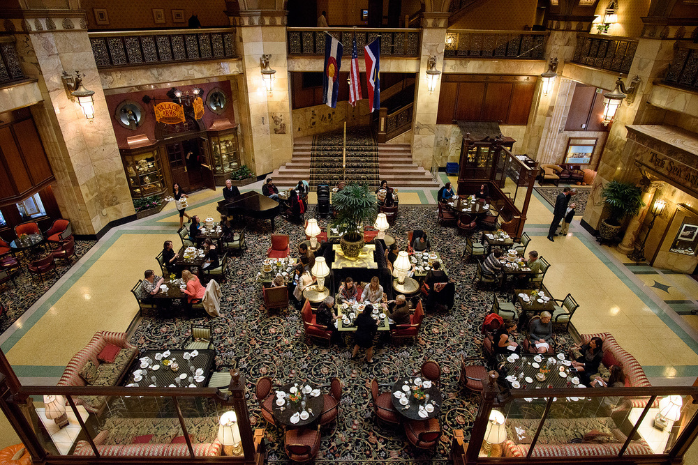 Champagne Brunch served in the spacious atrium lobby of the Brown Palace Hotel