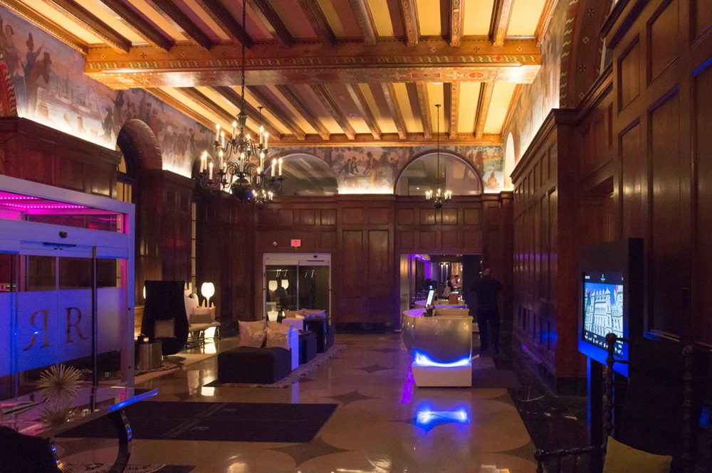 The lobby of the Renaissance takes the original decoration and layers modern furnishings and lighting to create something cooler than a reproduction.