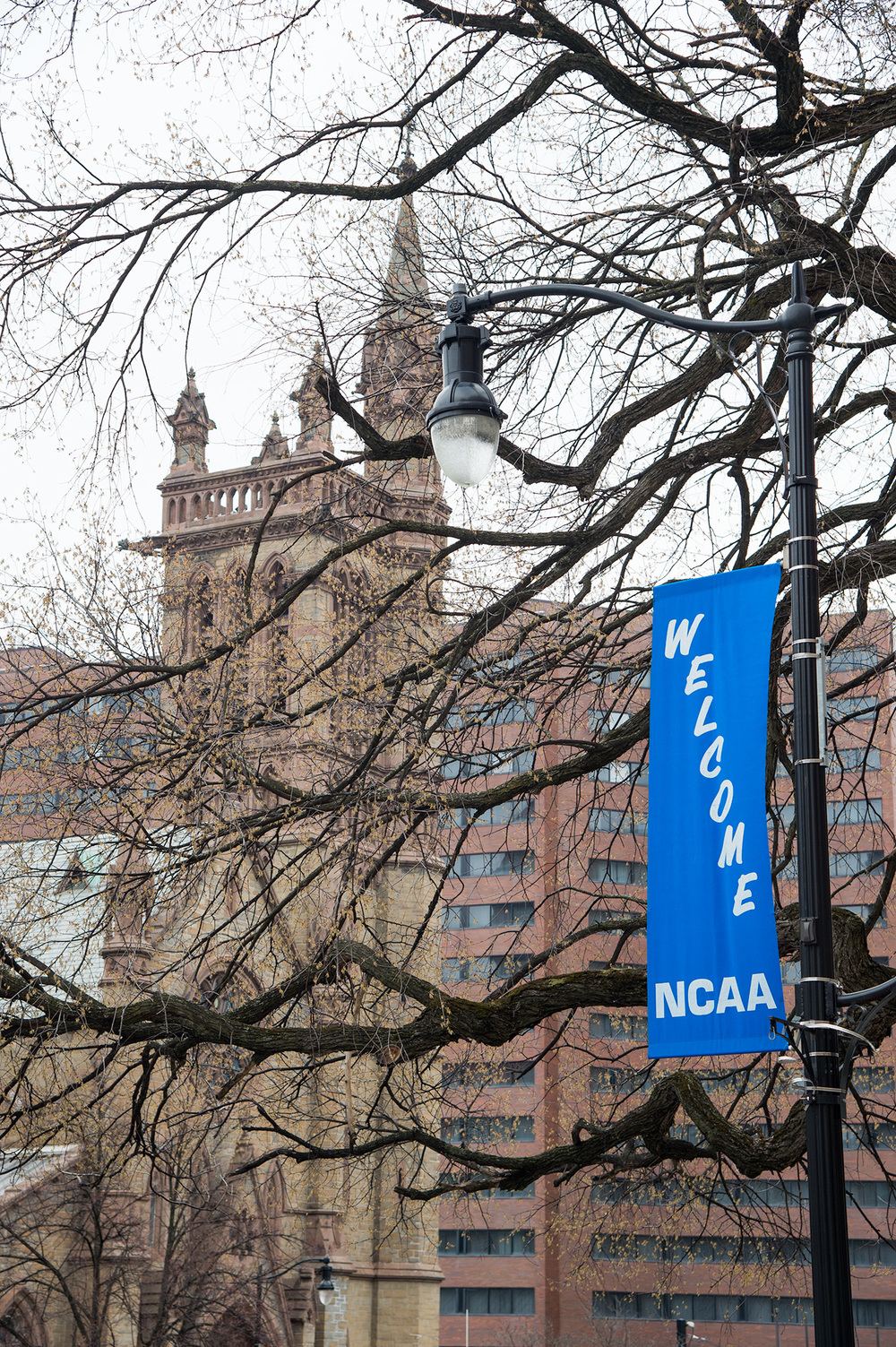 Banners on State Street welcoming The NCAA North Regional Hockey Playoff Tournament at the Times Union Center