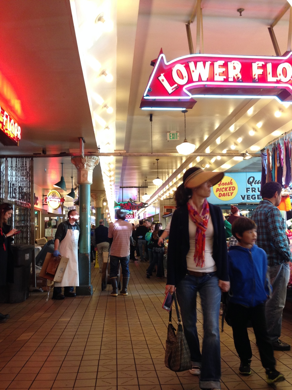 The bustling market at Pikes Place. (photo by Kathy)
