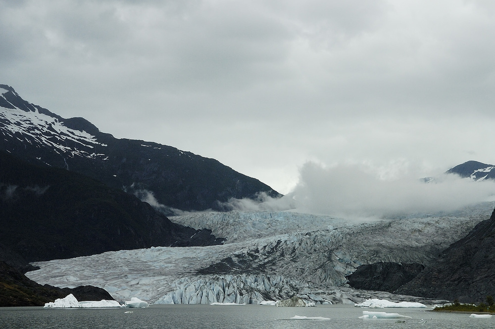We discovered during our visit that visitor centers designed for perfect views of the glaciers in Alaska are now distant views because of the shrinking glaciers.