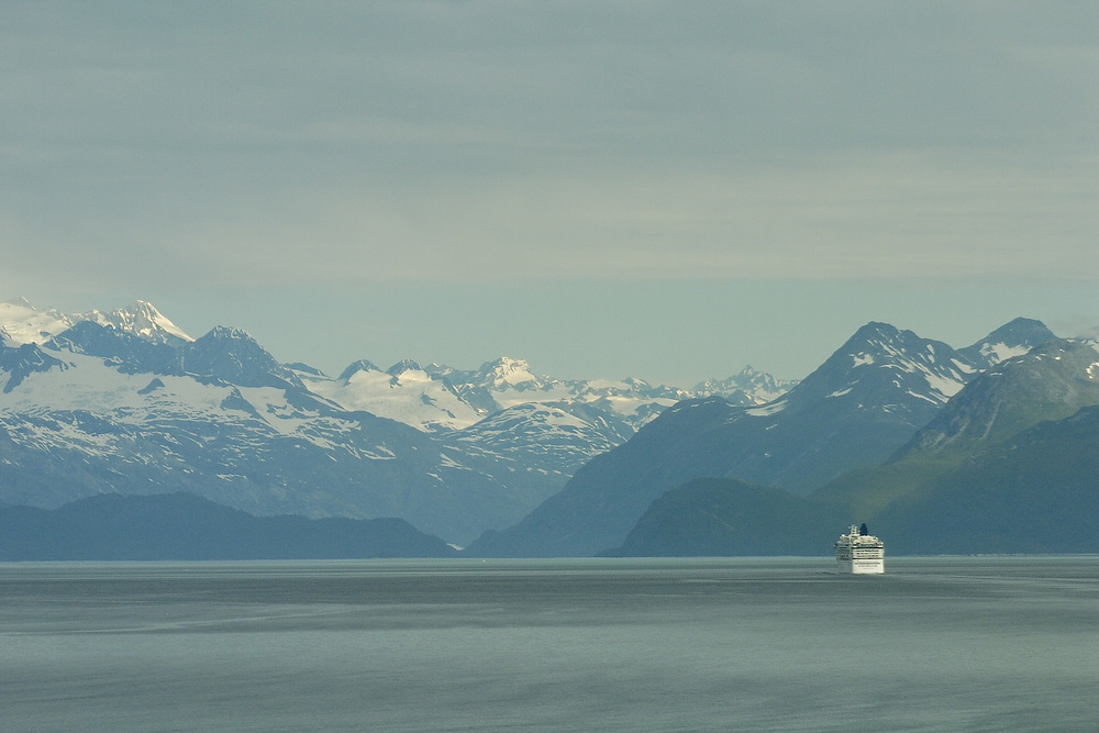 Another ship makes it way into Glacier Bay National Park, where a limited number of cruise ships are permitted to visit.
