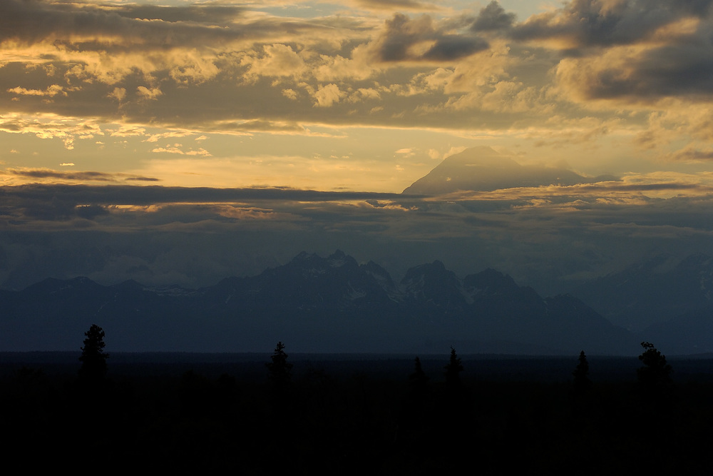 Denali dominates the sunset