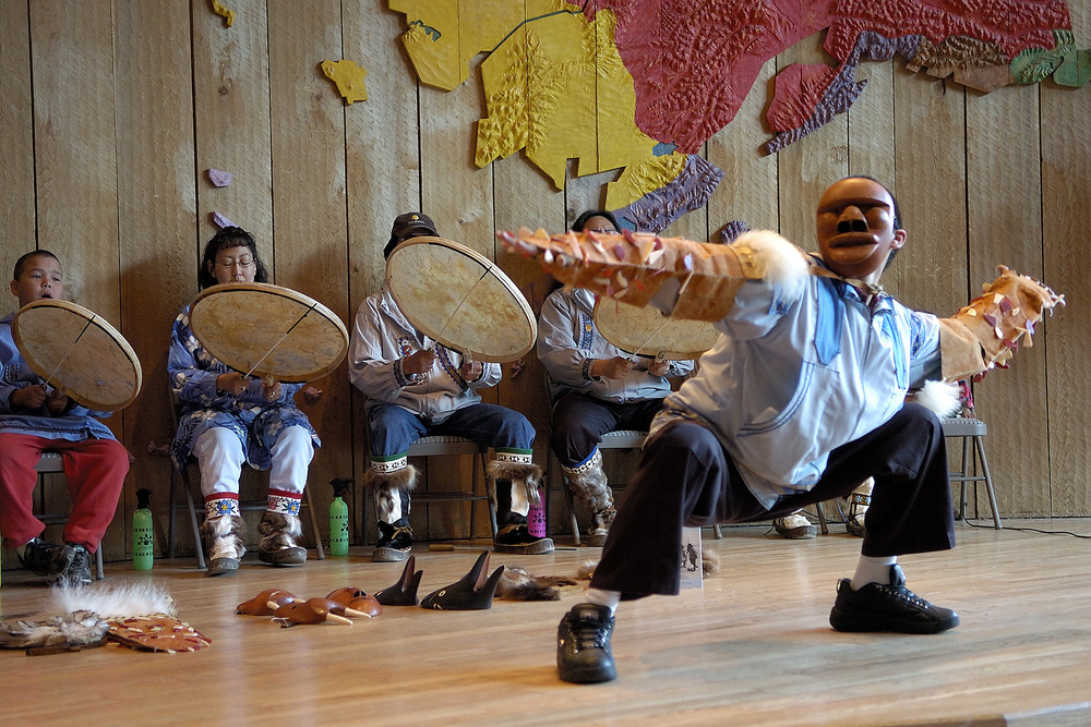 Native dancers at the Alaska Native Heritage Center