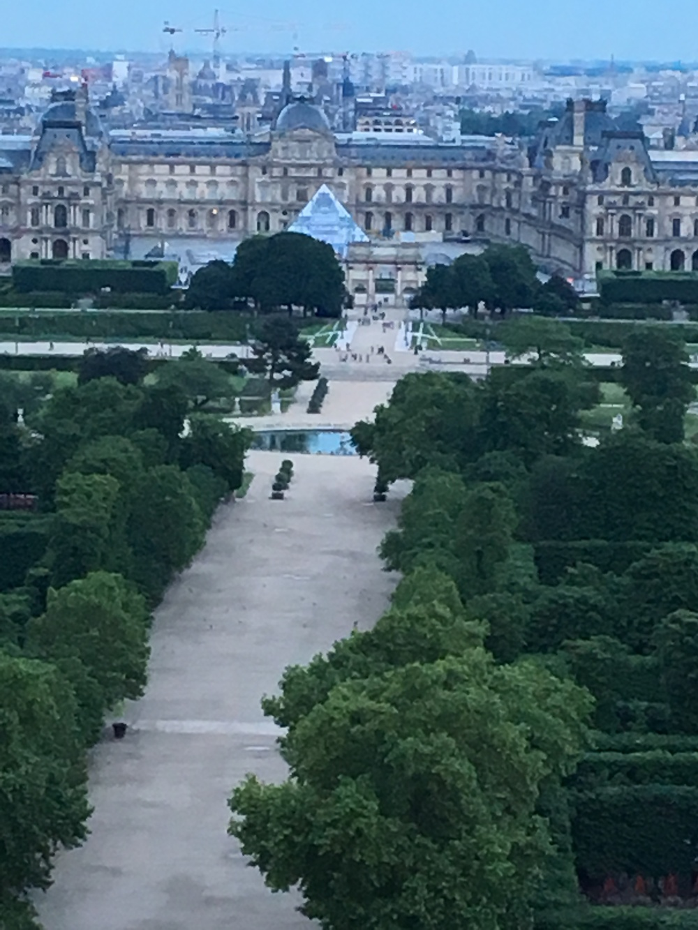 Palais Royal (Louvre) from the Ferris Wheel; at this time of night with the distance and low light, it almost looks like an impressionist painting!