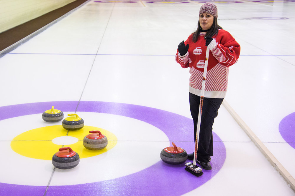 Our driver Stephanie explains the finer points of curling.