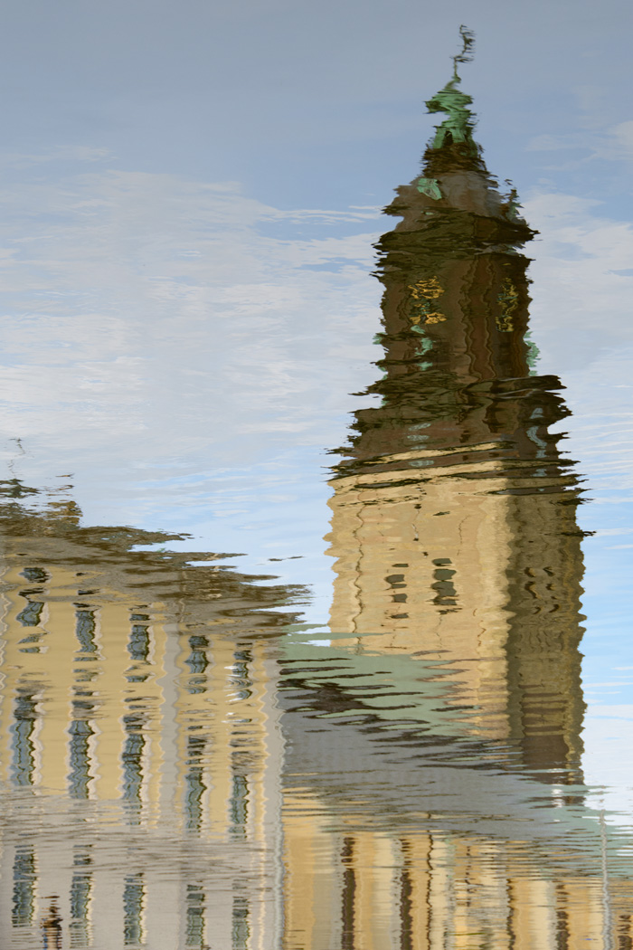 Reflection of the clock tower on Norra Hamngatan