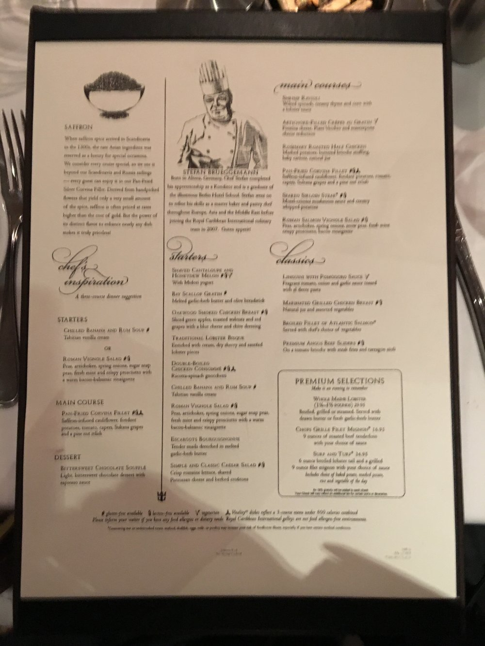 Dinner Menu Day 2- sorry for the poor quality Iphone photo!