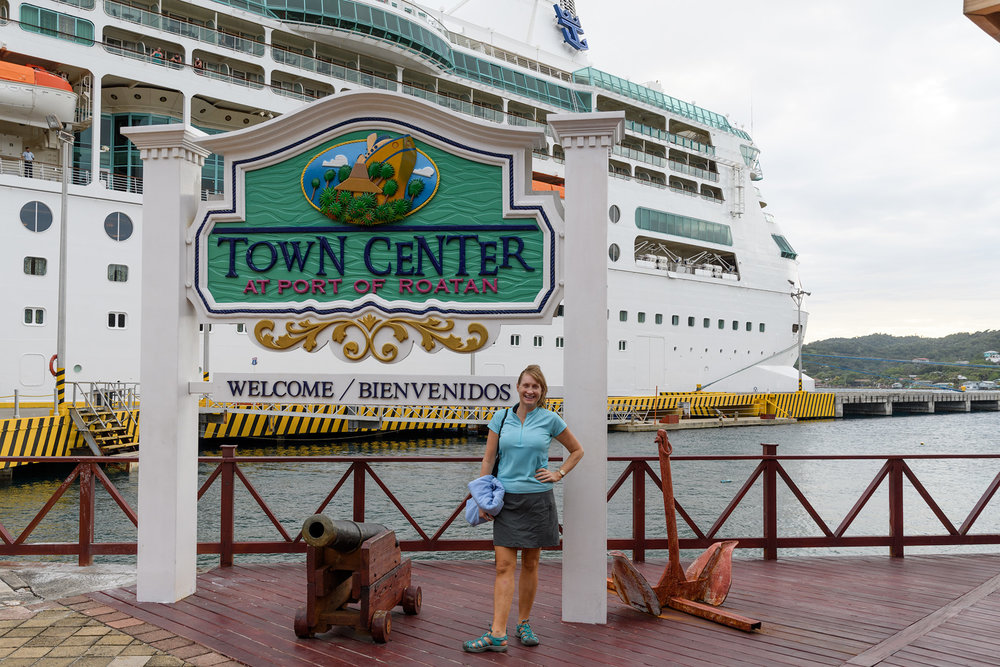 "Rhapsody at the ""Town Center"" cruise ship port develpoment in Roatan."