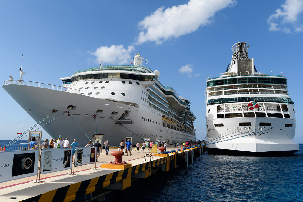 "Rhapsody of the Seas finally found a ""parking spot"" alongside Brilliance of the Seas."