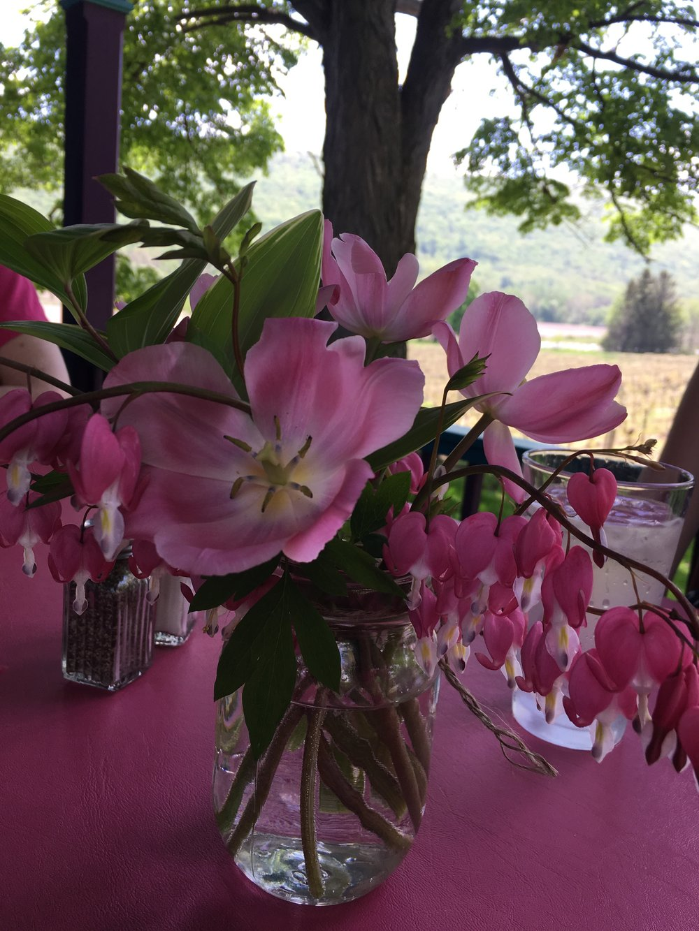 Bright colors, real flowers and a real vineyard next door add ambiance to the excellent food.