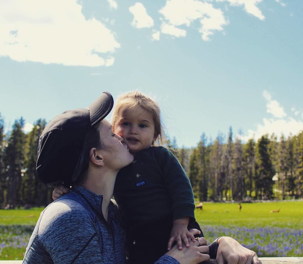 My niece Chava and her adorable daughter in Yellowstone National Park