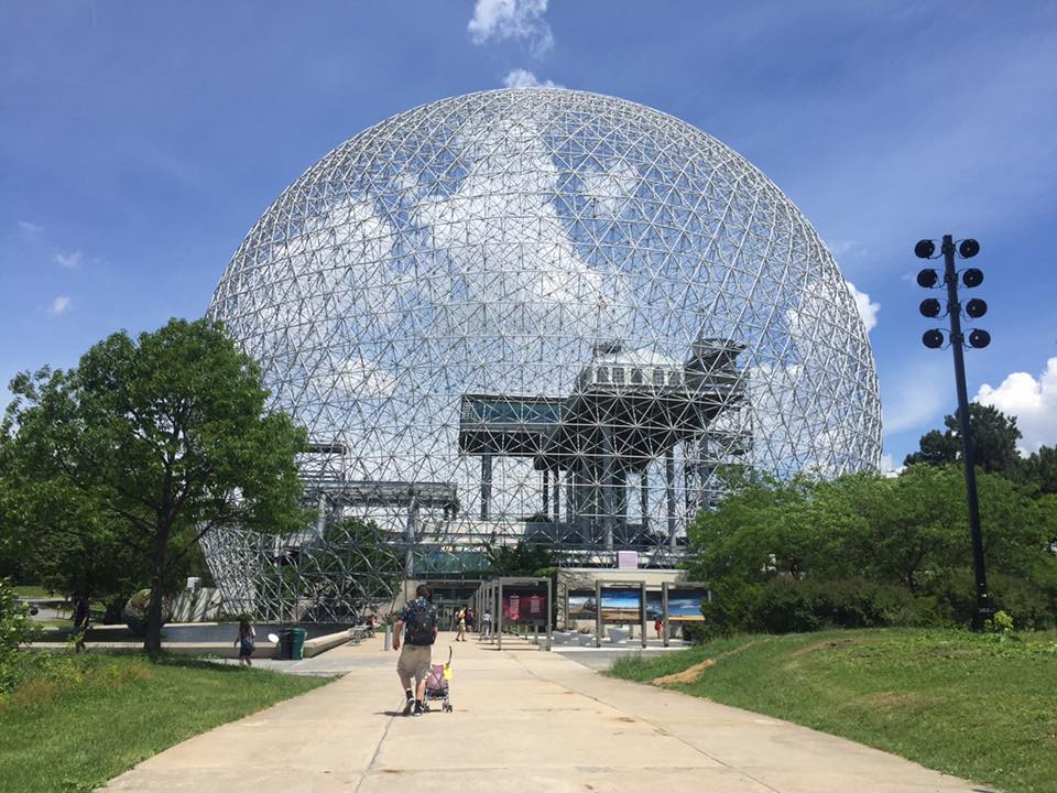 The Montreal Biosphere was a fascinating place to explore the environment for a couple dedicated to preserving it as owners of a two electric vehicles! Designed by Buckminster Fuller for the 1967 Expo, it's a popular museum dedicated to the environment today.