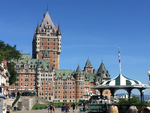 The Chateau Frontenac l ooks like a medieval castle in Europe, but it's in the  150 year old country of Canada! Quebec's narrow streets also remind people of Europe!