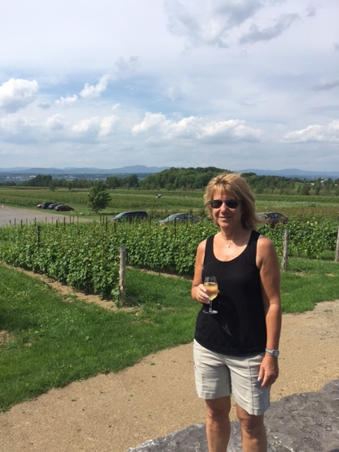 Judy enjoying wine at the Vignoble ste Petronille Winery