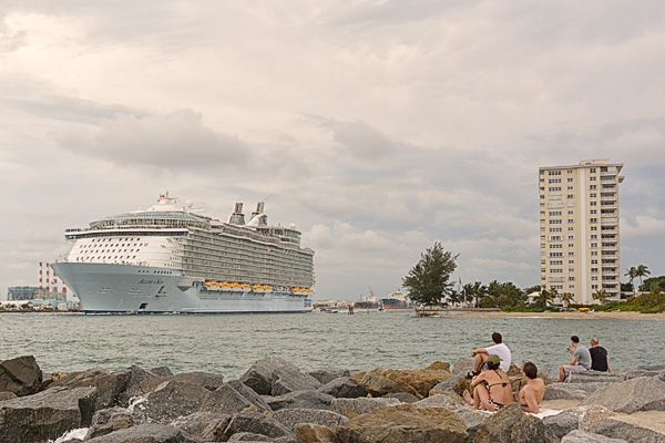 A cruise ship leaves Miami Beach