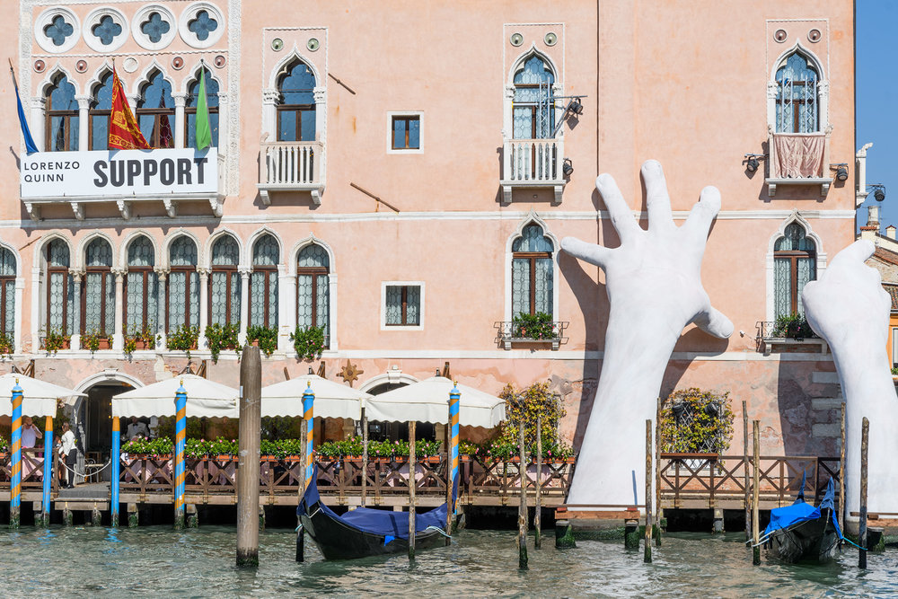 Lorenzo Quinn's Installation for the Venice Biennale 2018 sums up the challenges in Venice