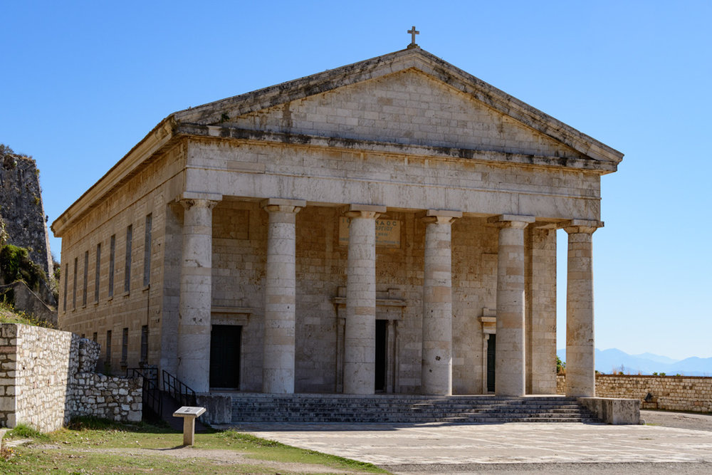 During British occupation in 18th C, this Greek Revival church was built.