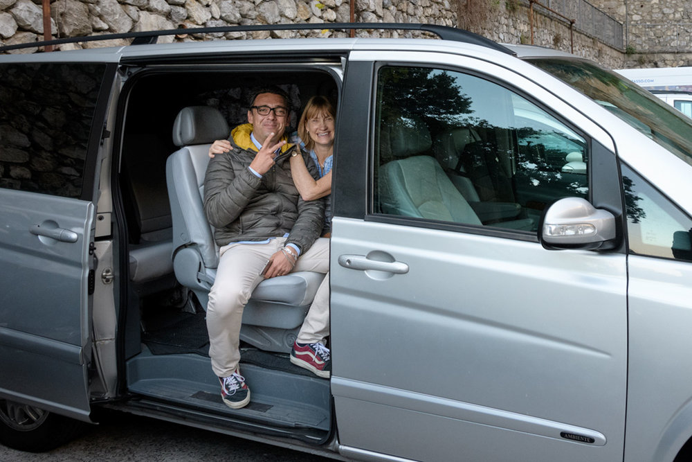 Our driver in Sorrento, Evo, in addition to patient, expert driving on the challenging Amalfi Coast Roads, he made our trip engaging and fun, he rolled with whatever changes we made on the fly and kept us comfortable all day!
