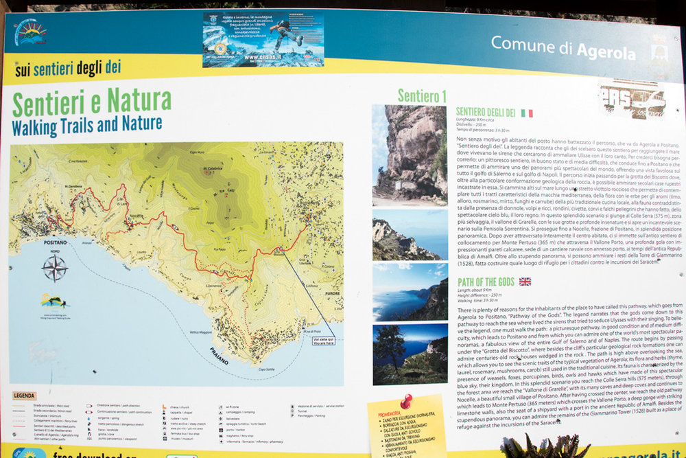A local map shows many trails high above the Amalfi Coast, you could spend days, up on the mountain, exploring small towns, limestone formations, and lush terraced farms