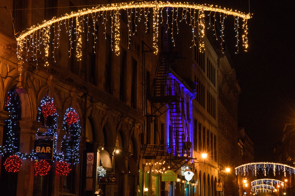 Rue St Paul decorated for the Christmas holiday!