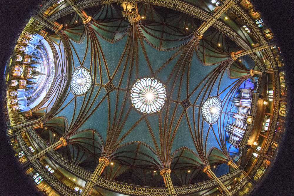 A fish eye lens view of the ceiling of the Basilica from altar (left) to organ (right)
