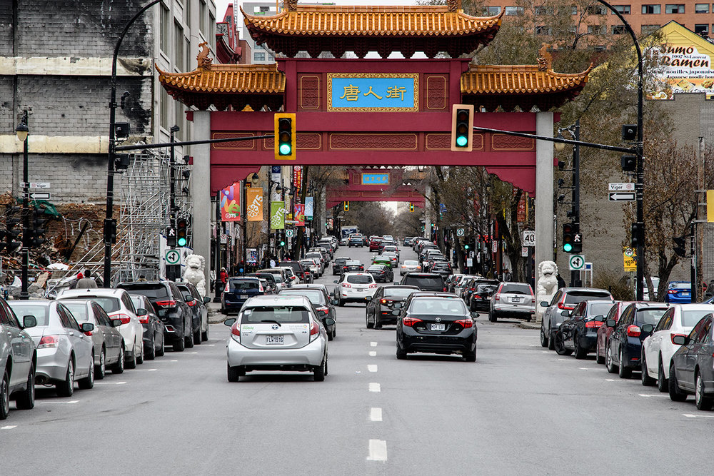 Chinatown is bordered by two decorative gates on Blvd St Laurent