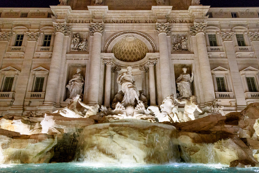 Trevi Fountain, another Baroque Bernini masterpiece...was more crowded than the Spanish Steps, but now you know how we got this photo!