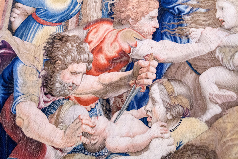 A detail from a tapestry depicts the massacre of the innocents from the Gospel of Matthew.
