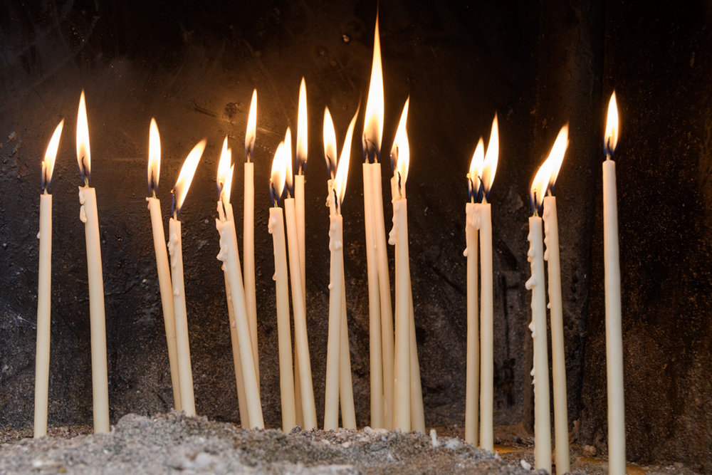 Candles outside of the St Spyridon's Orthodox Church in Corfu, Greece