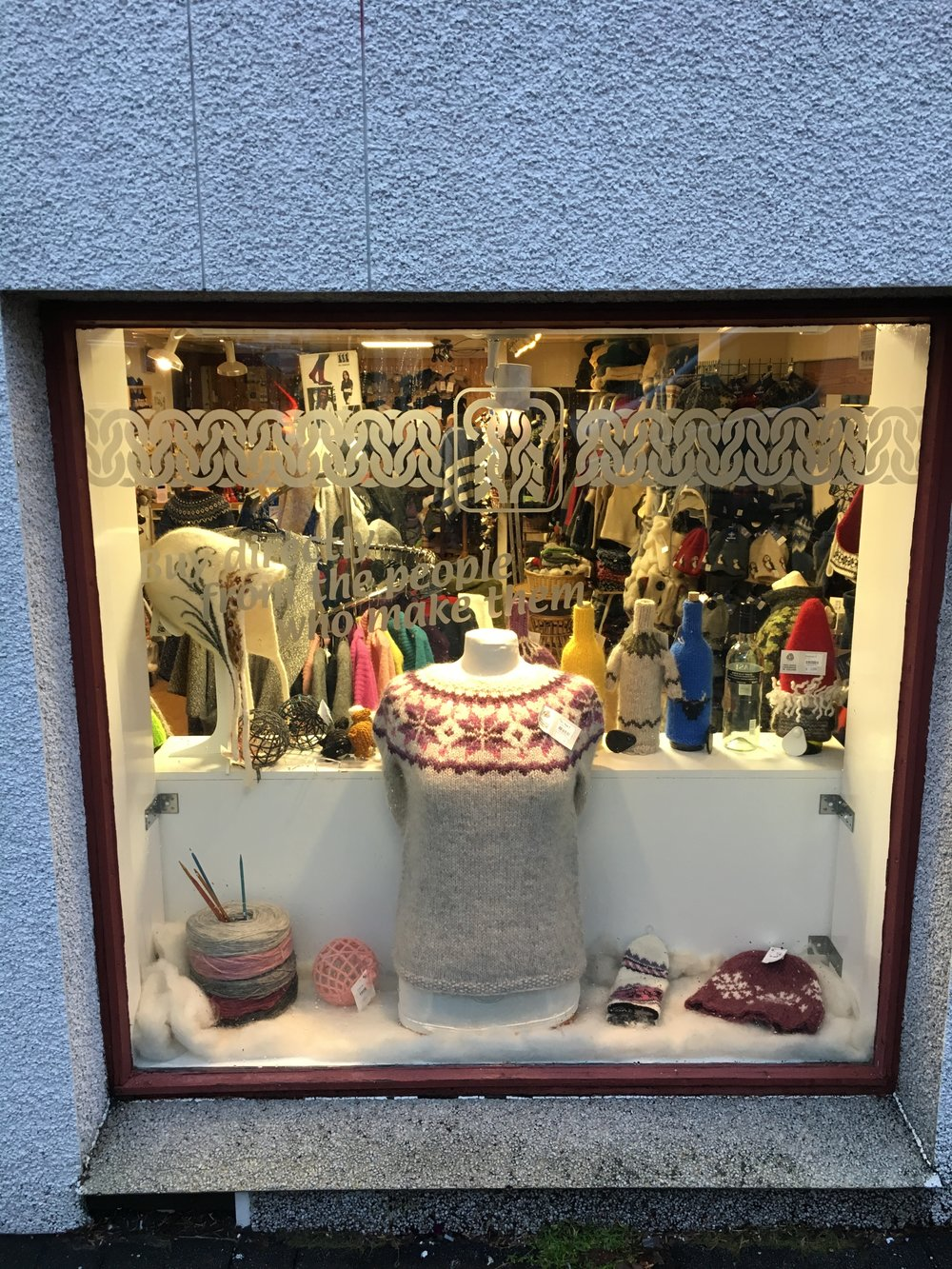 Our favorite stop for woolens, Icelandic Knitters Association, with their shelves stuffed full of local products, handmade by local people! There are sweaters for you, your dog, even your wine bottles!