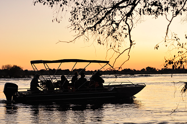 Toka Leya offered a small boat sunset tour of the Zambezi River from the camp.