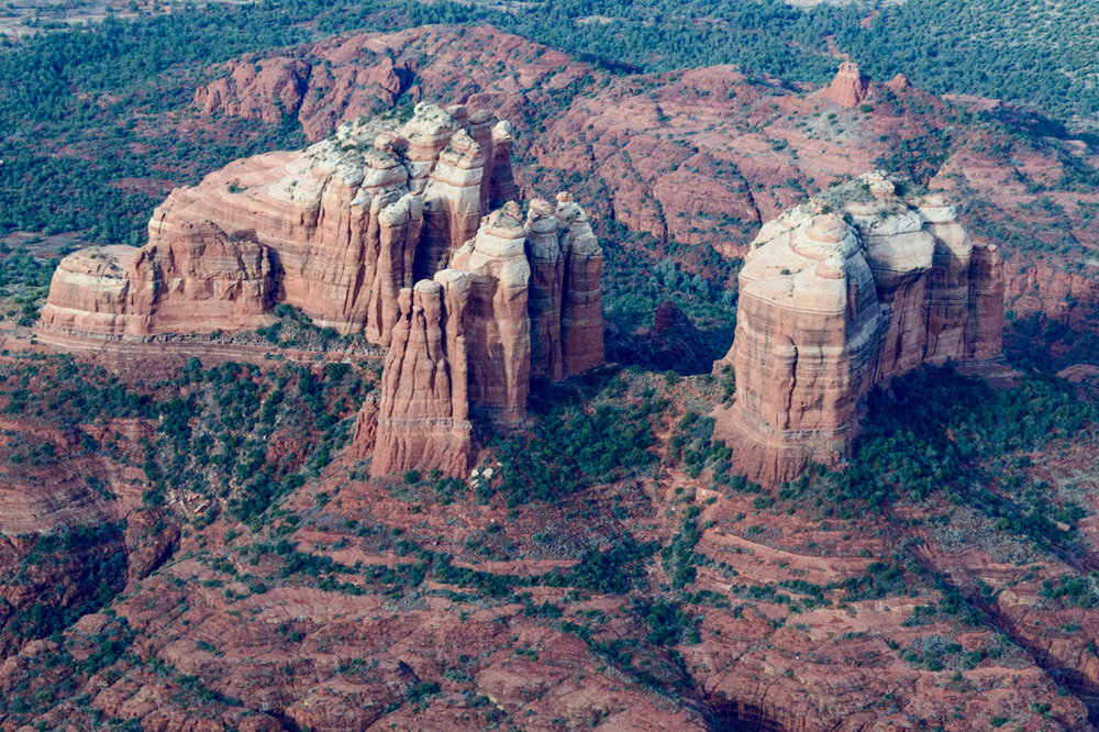 Dramatic red rocks of Sedona from the air, click on the image for more photos and videos in our  Arizona Trip Report .