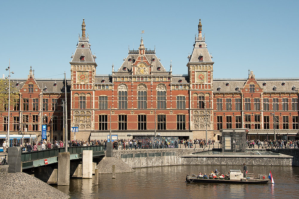 Central Station, the main transportation hub in the city of Amsterdam.