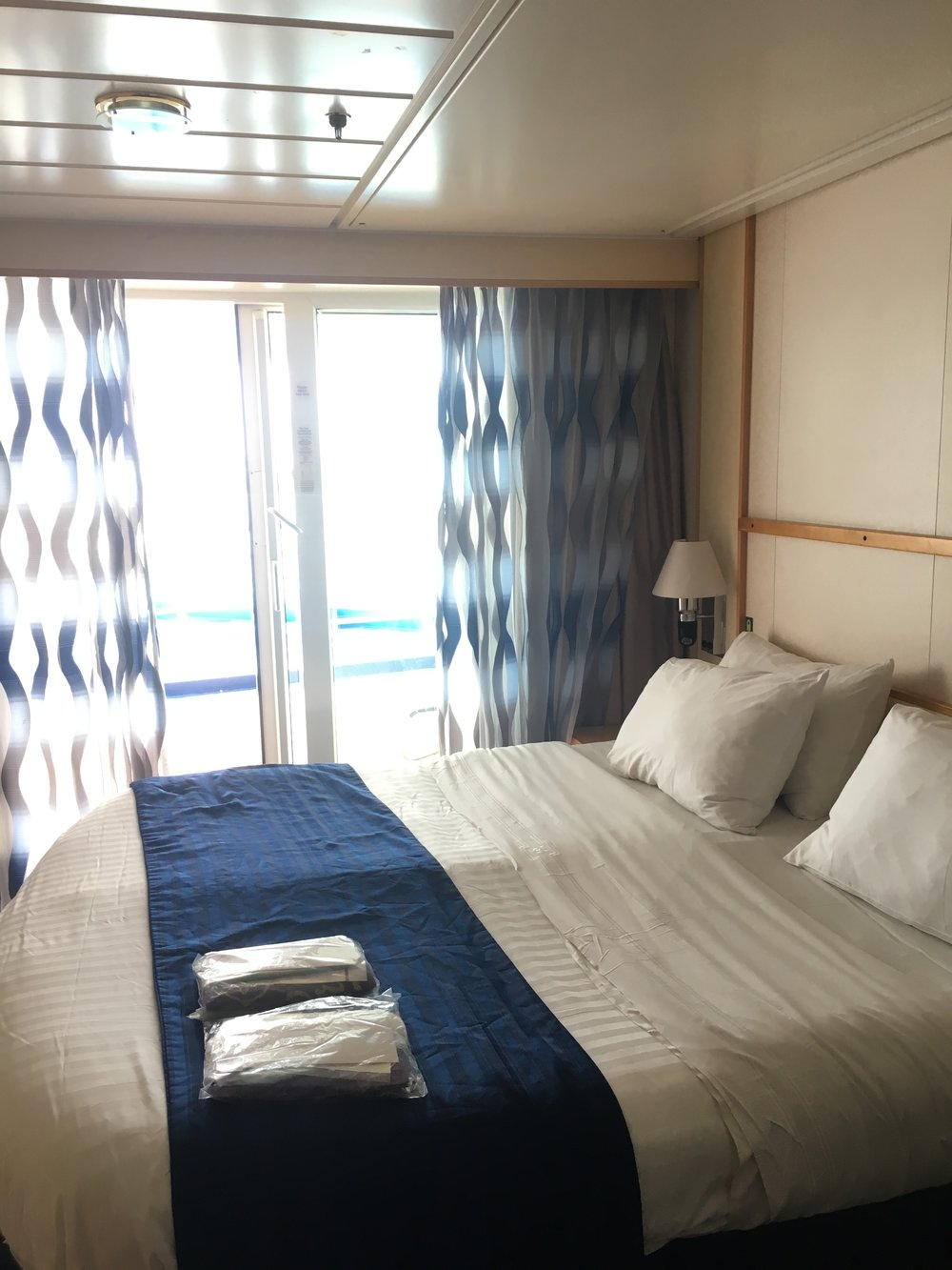 Same comfy cabins, this one a standard Ocean View Balcony on Navigator of the seas.