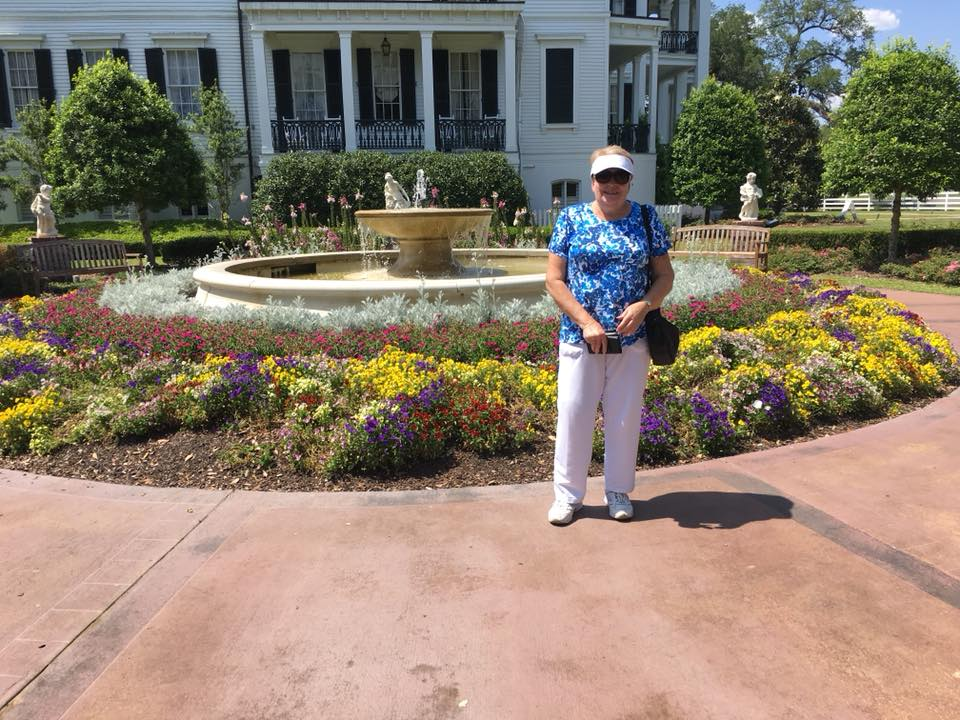 Bev at the beautiful gardens of the White Castle Plantation in Nottoway