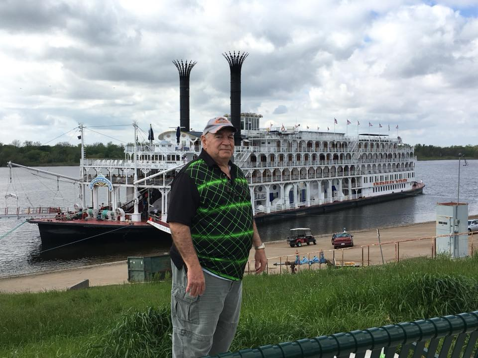 Bill posing with American Queen in Greenville