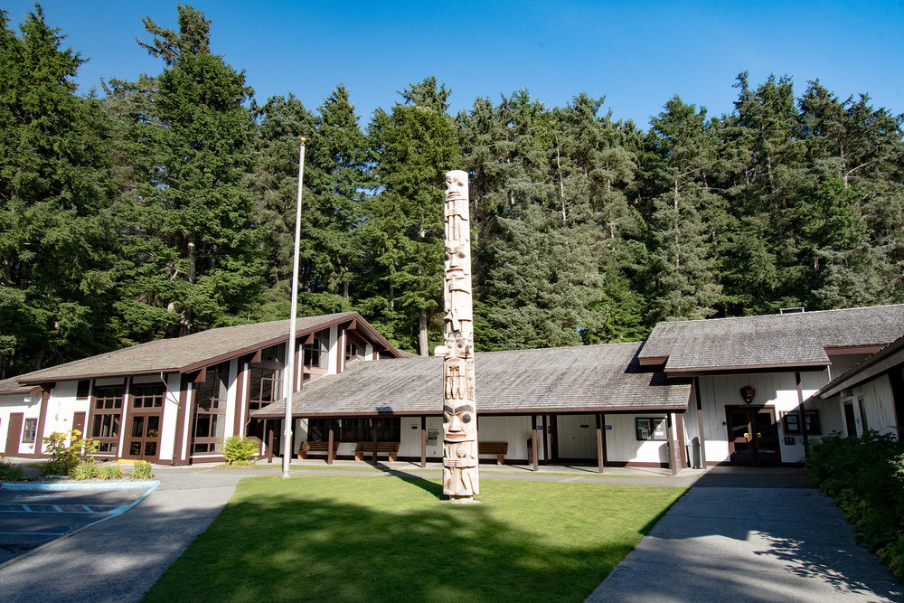 The visitor center features displays and films as well as studio space for working Tlingit artisits.