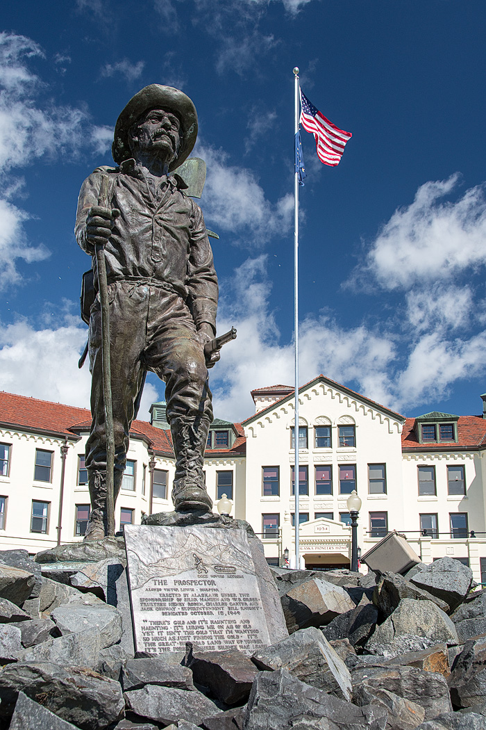 Our hotel in Totem Square was in sight of the Prospector Statue and the Pioneer Home