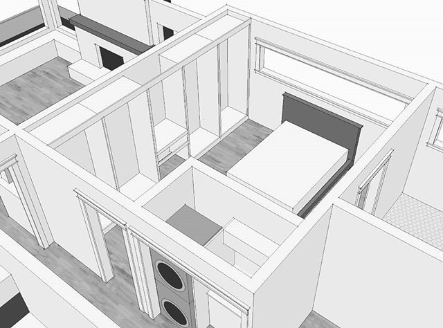 reconfiguring the hallway and master bedroom to add a laundryroom and ikea pax built-ins. #sketchup #homeownership #renovations #thehousethatwaited