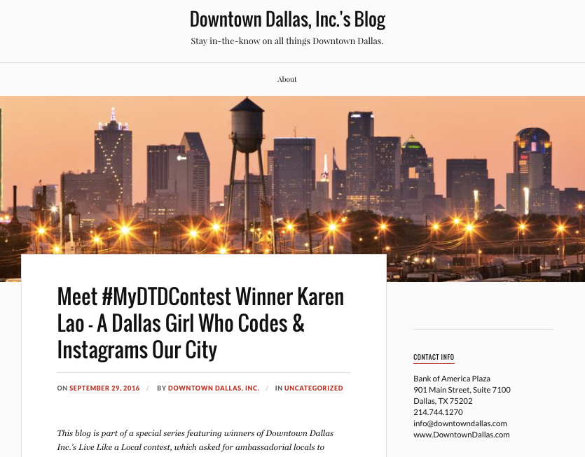 Downtown Dallas, Inc. Contest Winner