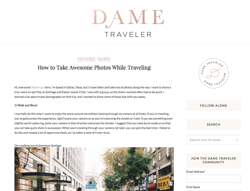 Dame Traveler: Travel Photo Tips