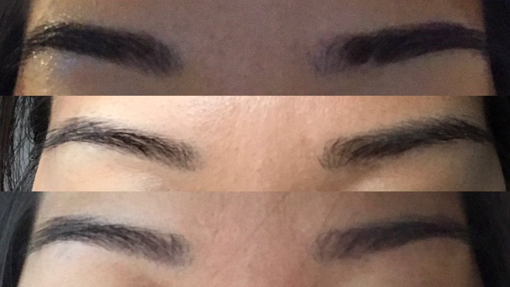 Initial session:  From week 1 to final healed brows (lighter and thinner than I usually like)