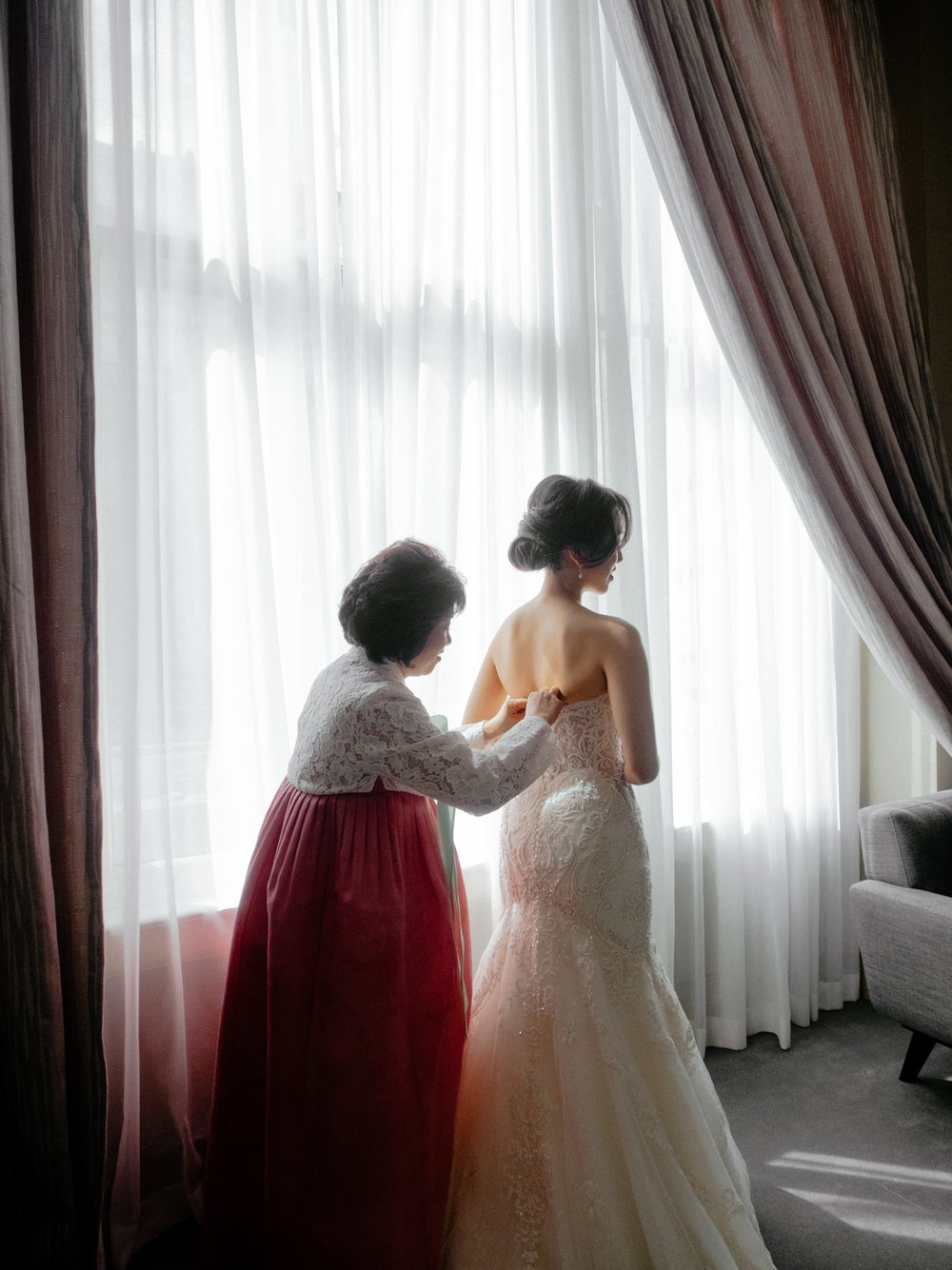 A wedding I helped shoot, with the mother of the bride in a traditional Korean hanbok