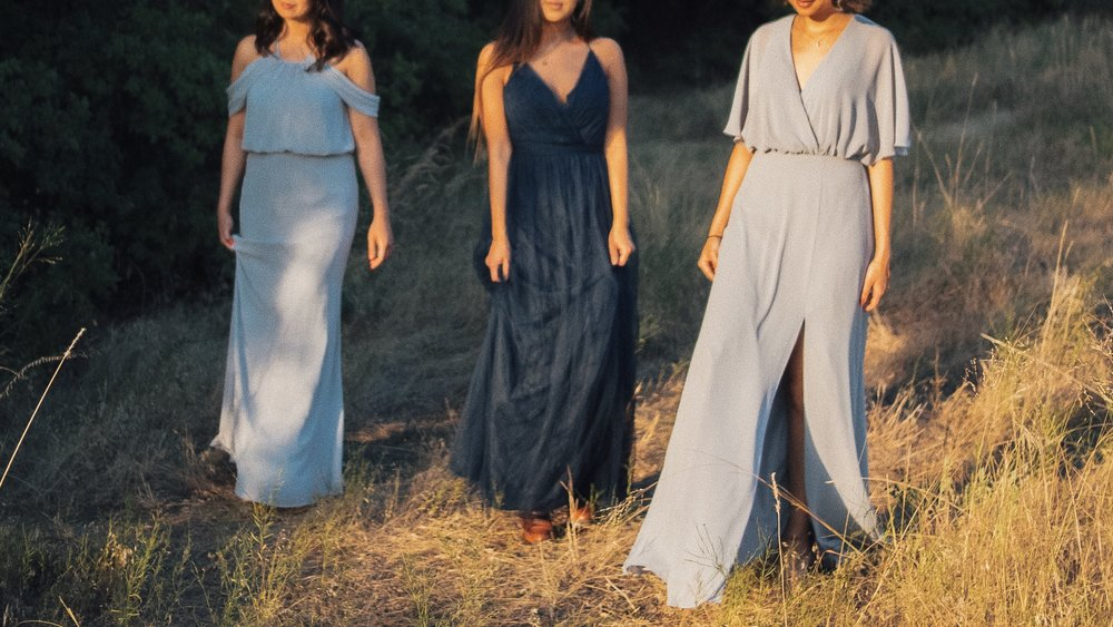Left to right: Jen wearing  Deni , Angela wearing  Summer , and Kat wearing  Lottie