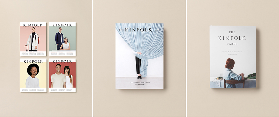 Kinfolk's branding is consistent across the board. Their signature look carries over from their books to magazines and workshop invites/materials.